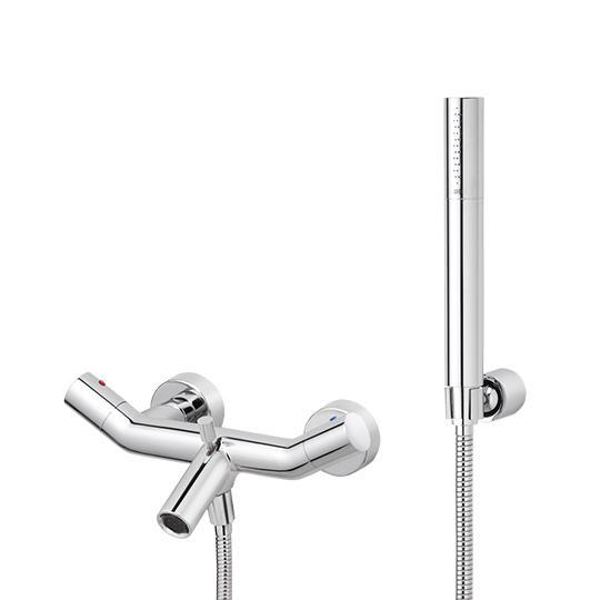 Bath/Shower Mixer W/Hand Shower & Hose & Wall Bracket